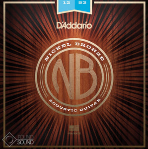 D'Addario NB1253 Nickel Bronze Acoustic Guitar Strings Light Gauge 12-53