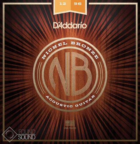 D'Addario NB1256 Nickel Bronze Acoustic Guitar Strings Light Top/ Heavy Bottom 12-56
