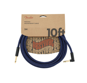 Fender 10' Angled Festival Instrument Cable Pure Hemp Blue Dream