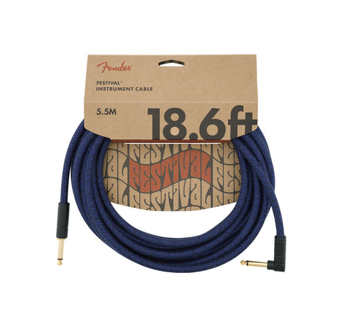 Fender 18.6' Angled Festival Instrument Cable Pure Hemp Blue Dream
