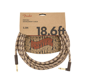 Fender 18.6' Angled Festival Instrument Cable Pure Hemp Brown Stripe