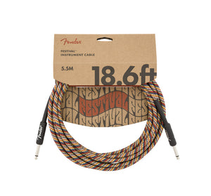 Fender 18.6' Angled Festival Instrument Cable Pure Hemp Rainbow