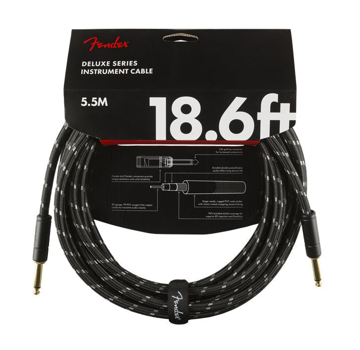 Fender Deluxe Series 18.6' Instrument Cable Black Tweed