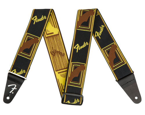 Fender WeighLess™ Monogrammed Strap (Black/Yellow/Brown)