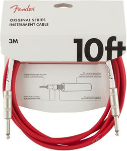 Fender Original Series 10' Instrument Cable Fiesta Red