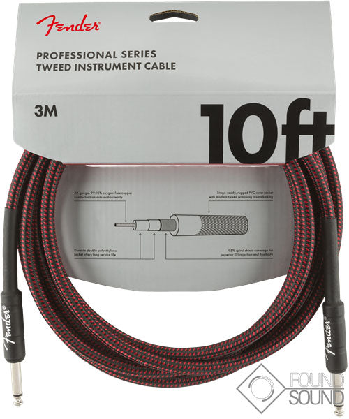 Fender Pro Series 10' Instrument Cable Red Tweed