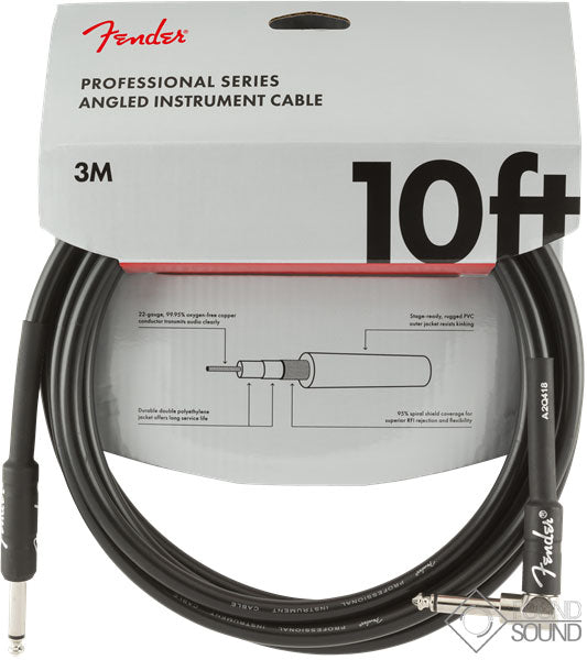 Fender Pro Series 10' Angled Instrument Cable Black