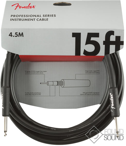 Fender Professional Series 15' Instrument Cable Black