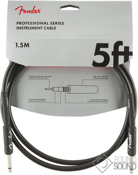 Fender Professional Series 5' Instrument Cable Black