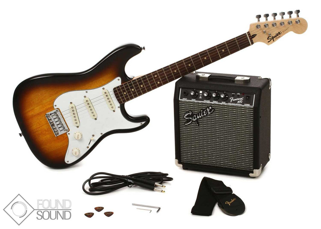 Fender Squier Affinity Strat SS Pack Brown Sunburst w/ FM10G Amplifier