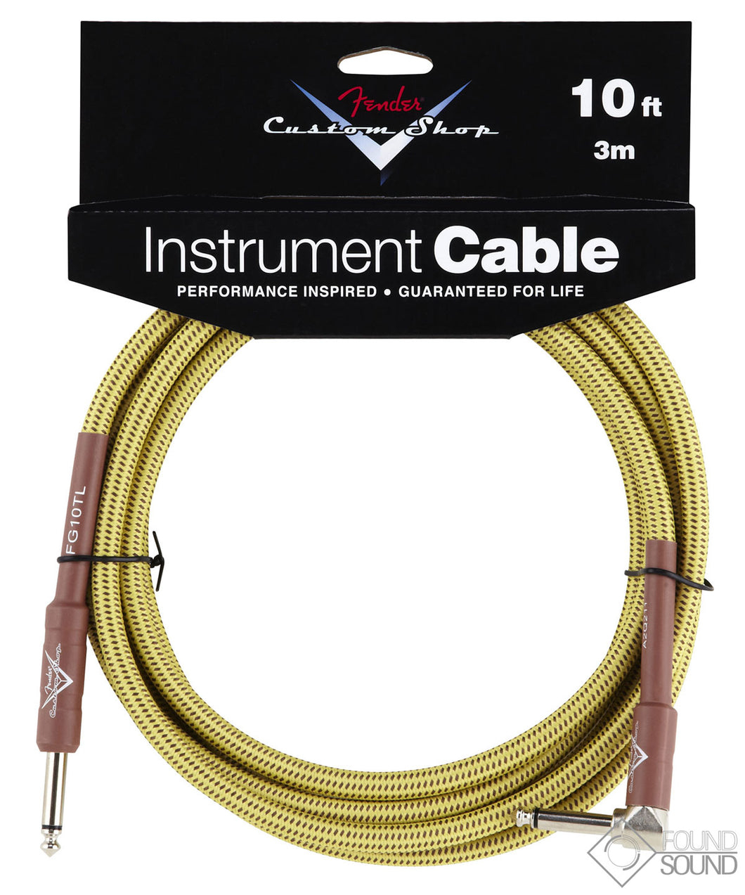 Fender Angled Custom Shop 10 Foot Cable - Tweed