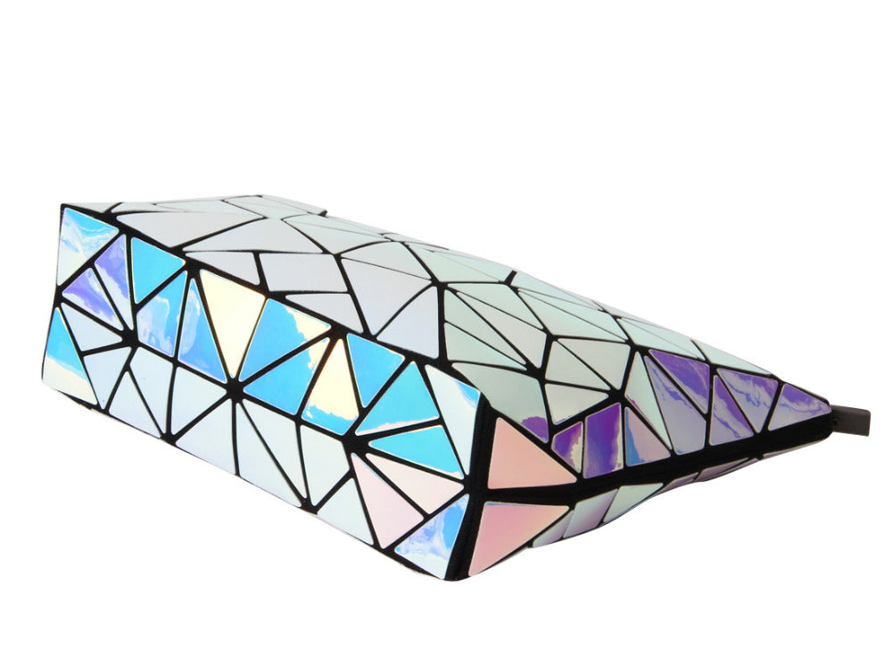 Geometric Diamond Split Holographic Cosmetic Shoulder Bag