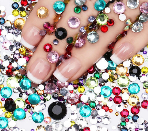 2000 pcs Multi Color Rhinestones Set for 3D Nail Art Decorations