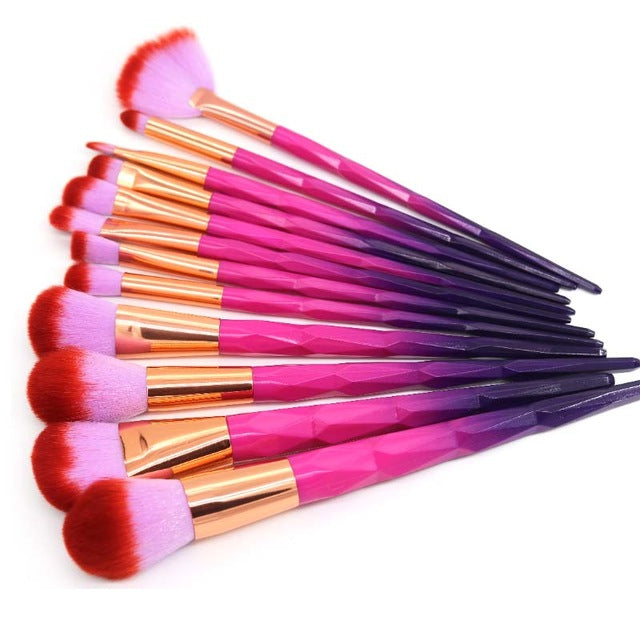 Hot Pink Diamond Unicorn Makeup Brush Set 12 pcs