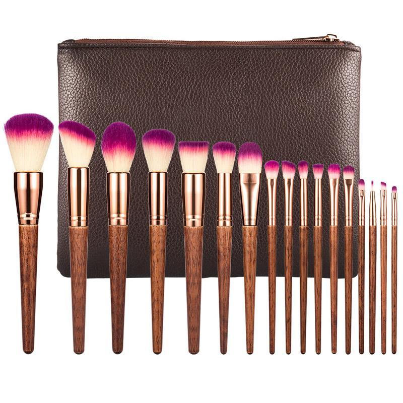 Wooden Makeup Brush Set 17 pcs with Case
