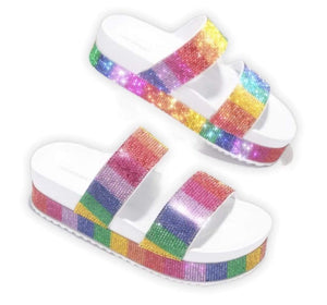 Cape Robbin Shoes Double Band Rainbow Sandals - Women