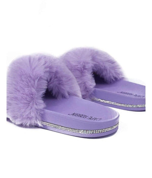 Cape Robbin Shoes Fur Lilac With Mini Rhinestones Sandals