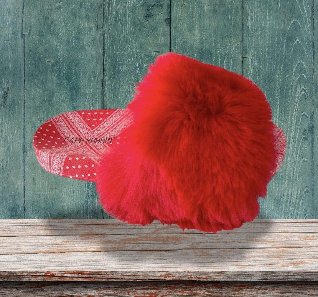 Cape Robbin Shoes Fur Red Sandals With Bandana Print - Women