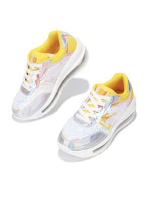 Cape Robbin Shoes Low Top Lace Up Neon Yellow Orange Sneakers - Women