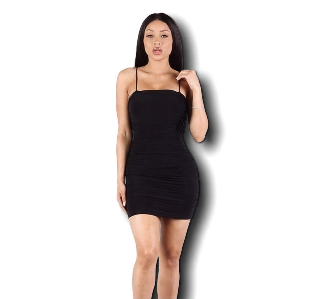 Grooveman Music Dresses Sexy Black Scrunched Strap Dress