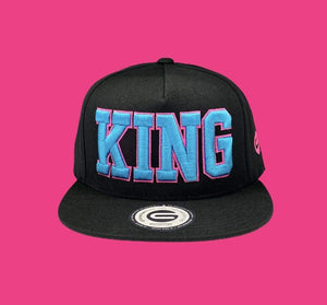 Grooveman Music Hats King Outline Snapback Hat