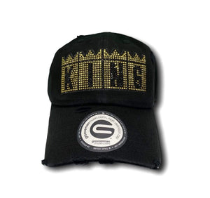 Grooveman Music Hats One Size / Black Gold King Rhinestone Vintage Dad Hat