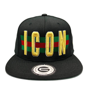 Grooveman Music Hats One Size / Black Icon Flag Background Snapback Cap