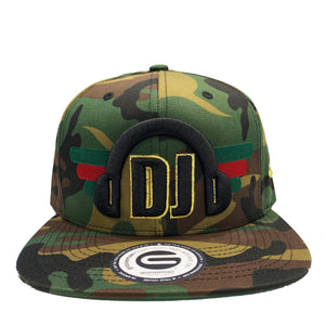 Grooveman Music Hats One Size / Camo DJ Headphone Snapback