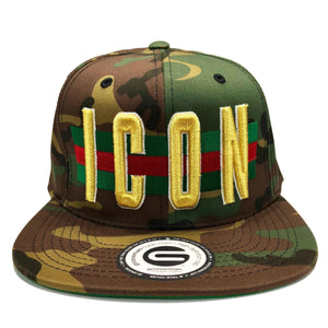 Grooveman Music Hats One Size / Camo Icon Flag Background Snapback Cap