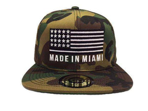 Grooveman Music Hats One Size / Camo Made In Miami Flag Snapback