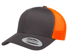 Grooveman Music Hats One Size / Gray Orange Classic Retro Trucker 2-Tone Cap