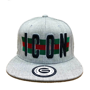 Grooveman Music Hats One Size / Heather Grey Icon Flag Background Snapback Cap