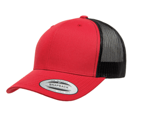 Grooveman Music Hats One Size / Red Black Classic Retro Trucker 2-Tone Cap