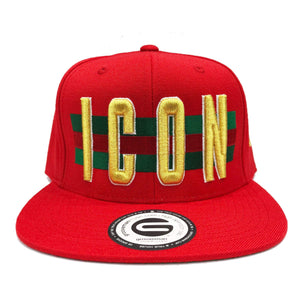 Grooveman Music Hats One Size / Red Icon Flag Background Snapback Cap