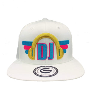 Grooveman Music Hats One Size / White DJ Headphone Snapback