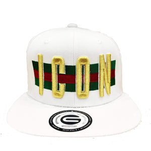 Grooveman Music Hats One Size / White Icon Flag Background Snapback Cap