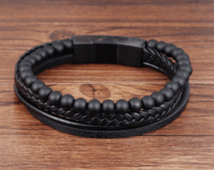 Grooveman Music Jewelry Black / Large Breaded Layers Black Beads Leather Bracelet