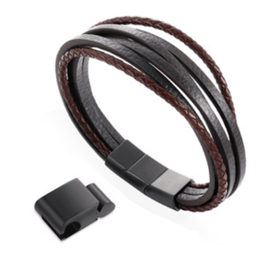 Grooveman Music Jewelry Black / One Breaded Layers Black Brown Leather Bracelet
