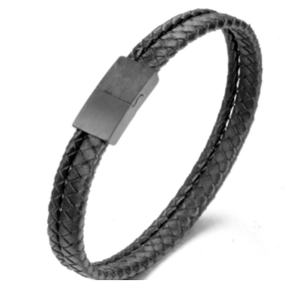 Grooveman Music Jewelry Black / One Double Breaded Black Leather Bracelet
