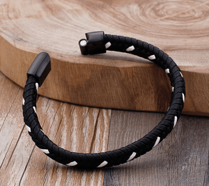 Grooveman Music Jewelry Black-White Black/White Braided Leather Bracelet