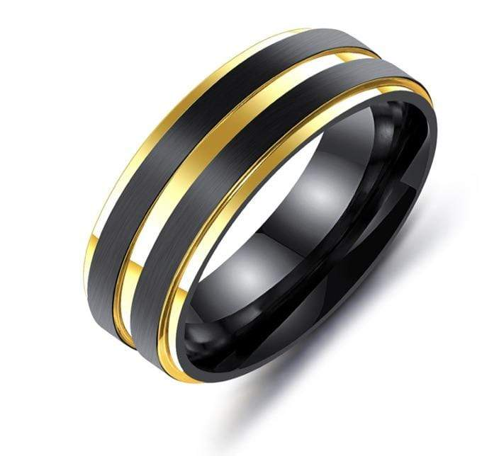 Grooveman Music Jewelry Gold and Black Steel Ring