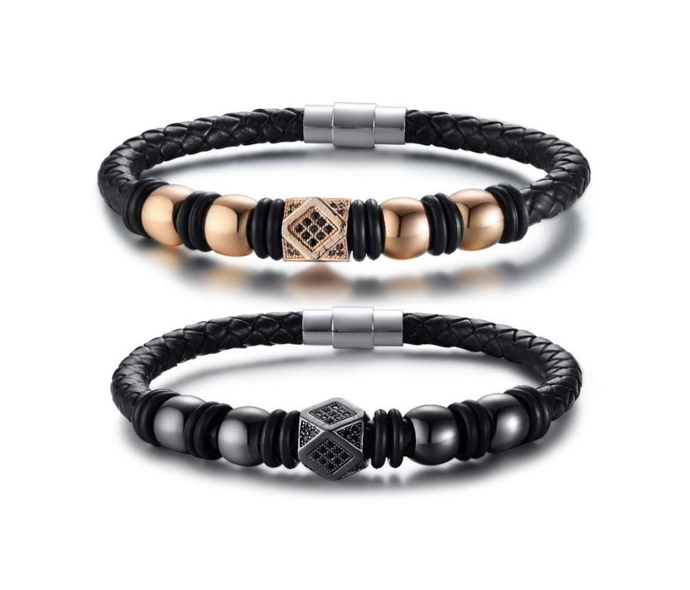 Grooveman Music Jewelry Leather Magnetic Close Rose Gold Bracelet