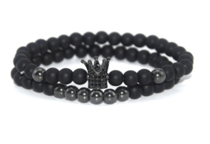 Grooveman Music Jewelry One size / Black Black Crown Double Volcanic Stone Bead Bracelet