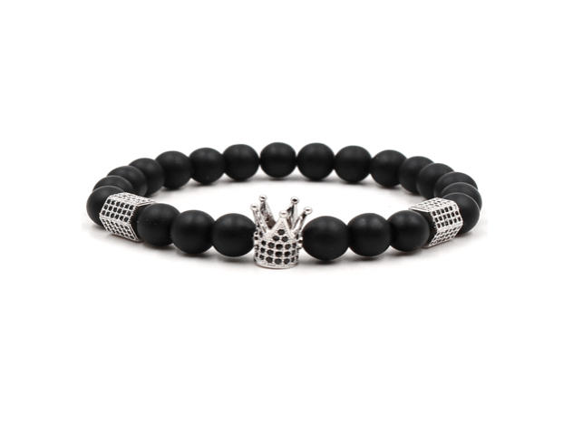 Grooveman Music Jewelry One size / Black Silver Black and Silver Crown Scrub Volcanic Stone Bead Bracelet