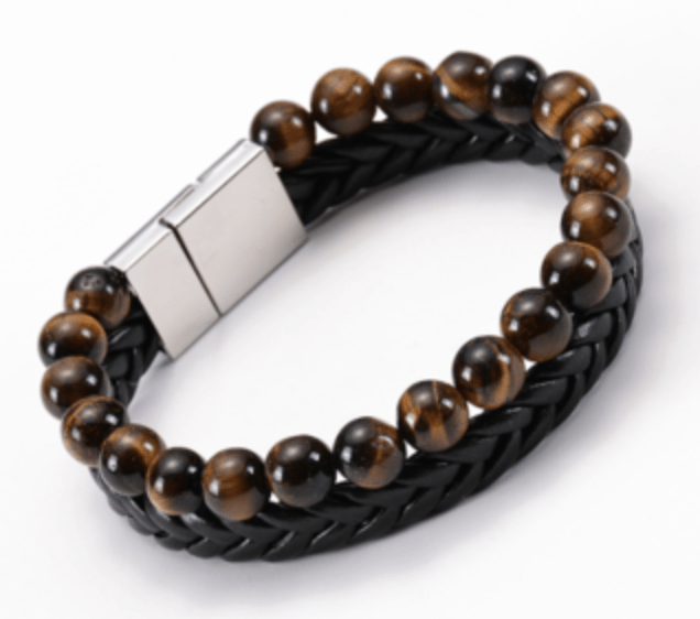Grooveman Music Jewelry One size / Black Silver Black Brown Scrub Volcanic Stone Bead Bracelet