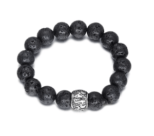 Grooveman Music Jewelry One size / Black-Silver Black Volcanic Stone Beaded Bracelet