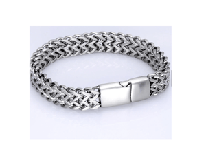 Grooveman Music Jewelry Stainless Steel Chain Bracelet Two Strand Wheat Jewelry