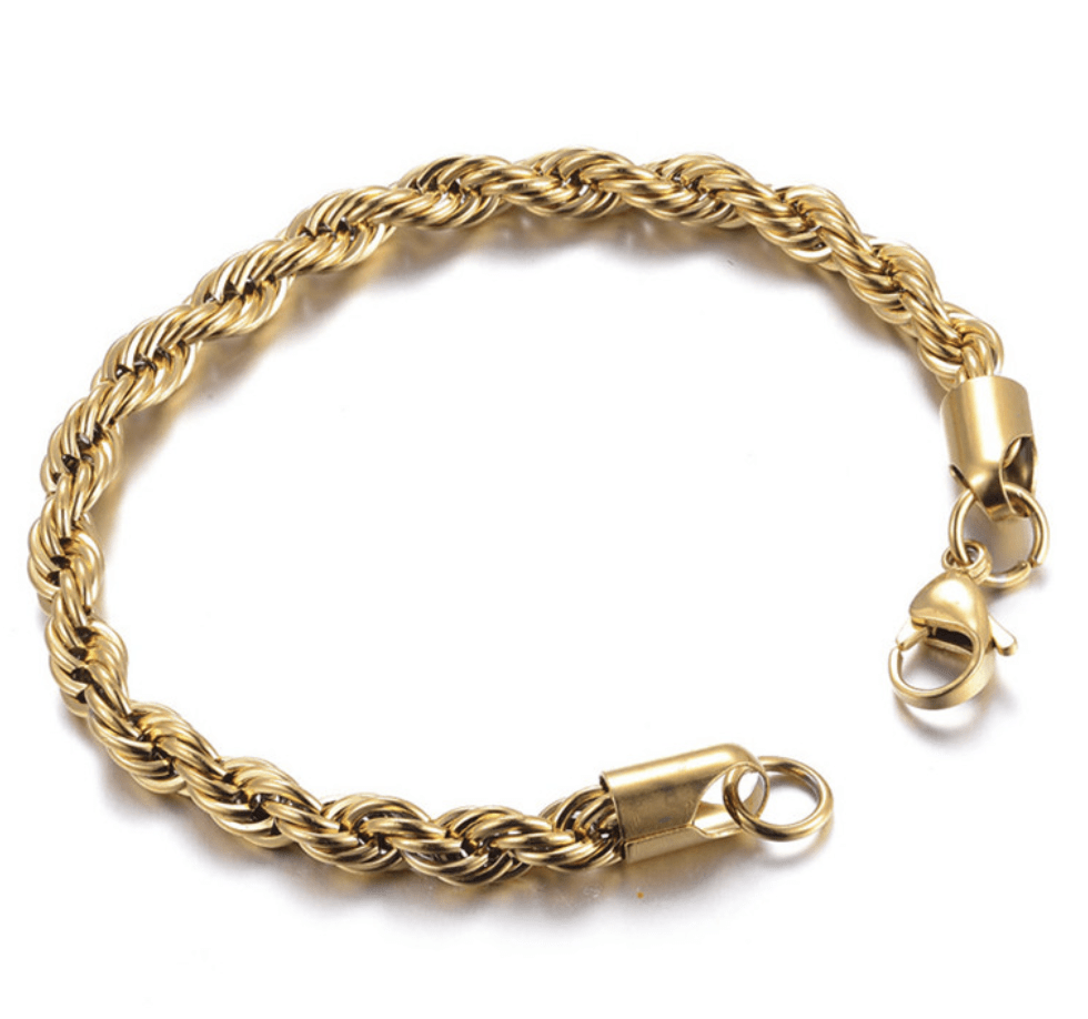 Grooveman Music Jewelry Stainless Steel Gold Chain Bracelet