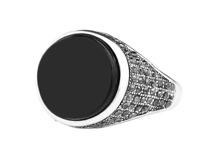 Grooveman Music Jewelry Stainless Steel Silver with Black Ring