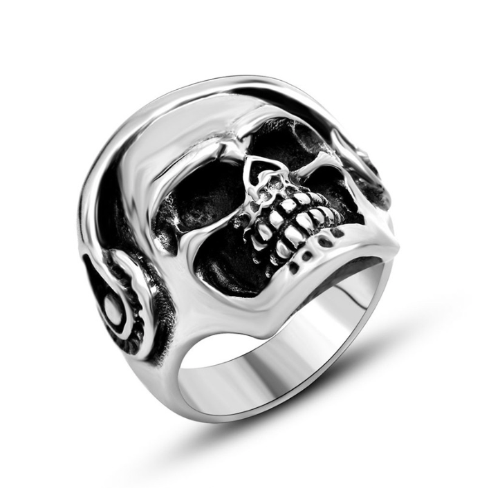 Grooveman Music Jewelry Stainless Steel Skull with Headset Polishing Ring